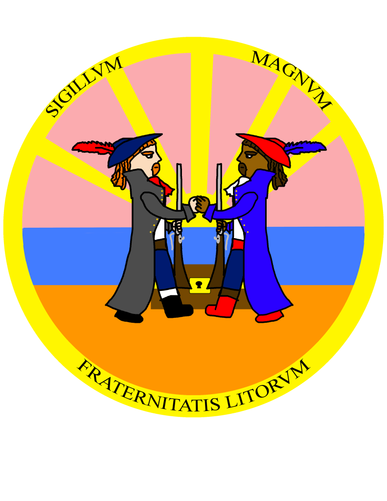 "The heraldic emblem of Realmgard's Brotherhood of the Coasts, depicting to pirates shaking hands and bearing the inscription ""Sigillum Magnum Fraternitatis Litorum""."