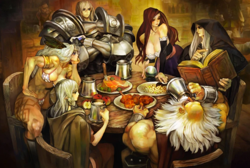 Six Fantasy heroes: a female wizard, a male wizard, a Dwarf, an Elf, an Amazon, and a warrior in heavy armour sitting together at a table in a tavern.