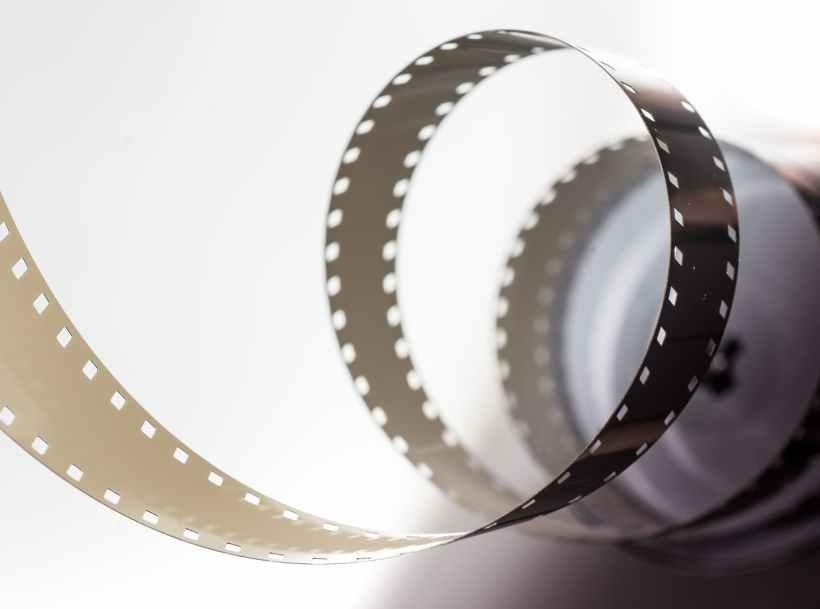 An unrolled reel of film.