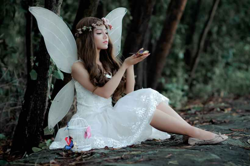A woman dressed as a Fairy, holding a butterfly.