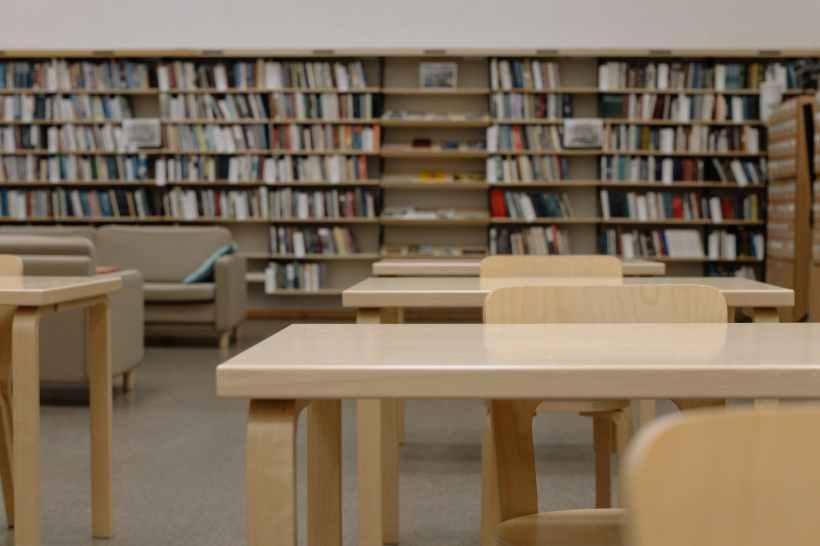 A library bookshelf.