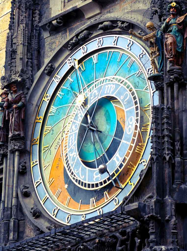 The Prague Astronomical Clock: the elaborate face of a clock on an ornate medieval clock tower. Photo by Andrea Piacquadio on Pexels.com