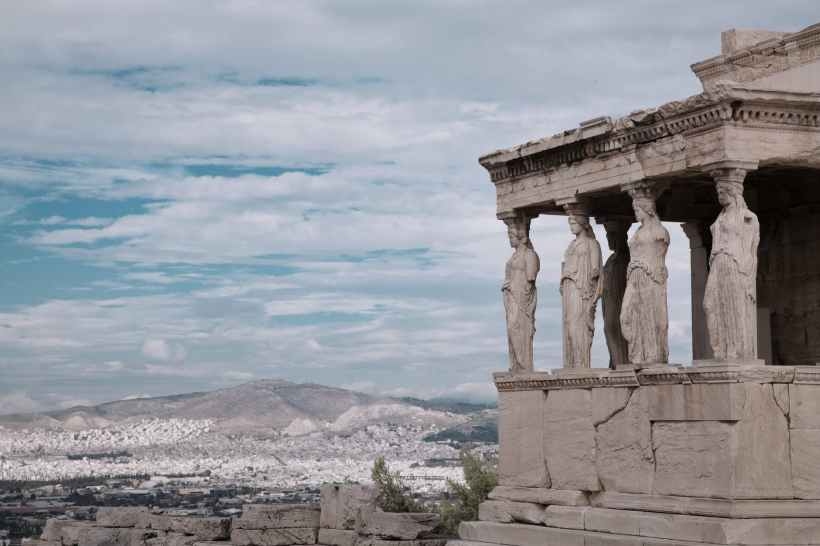 The corner of the caryatid porch of the Erechtheion on the Acropolis of Athens.