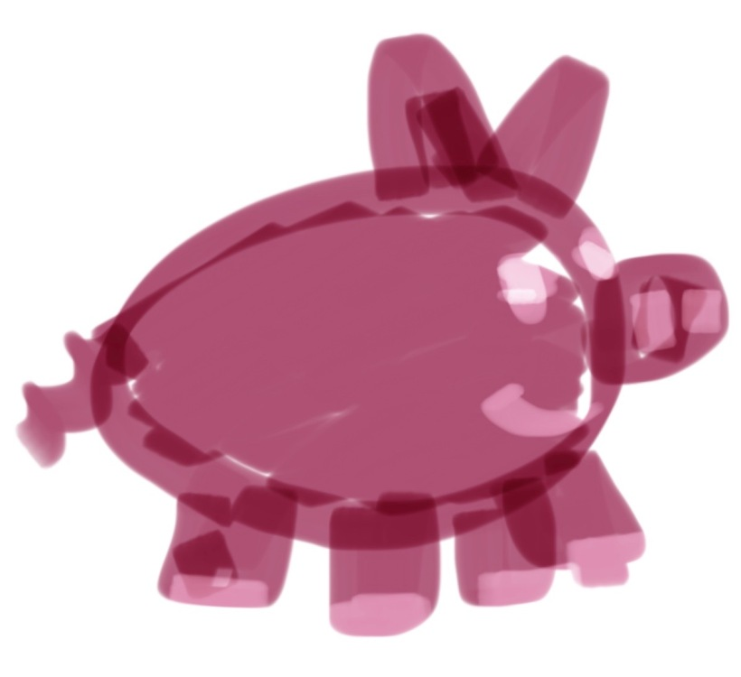 A poorly drawn pig.