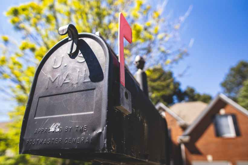 A mailbox, shot from a low angle.