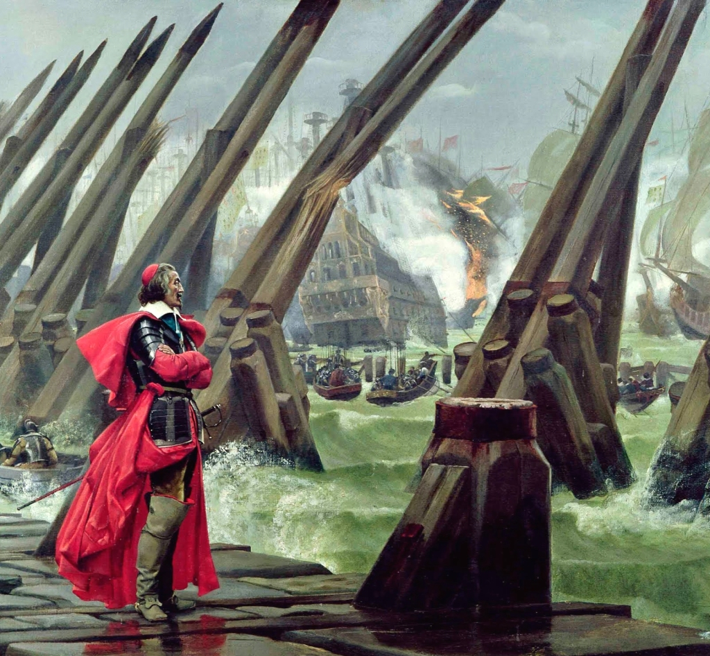 Dressed in armour and clerical attire, Cardinal Richelieu stands on the wharf, observing ships and boats during the siege of La Rochelle.