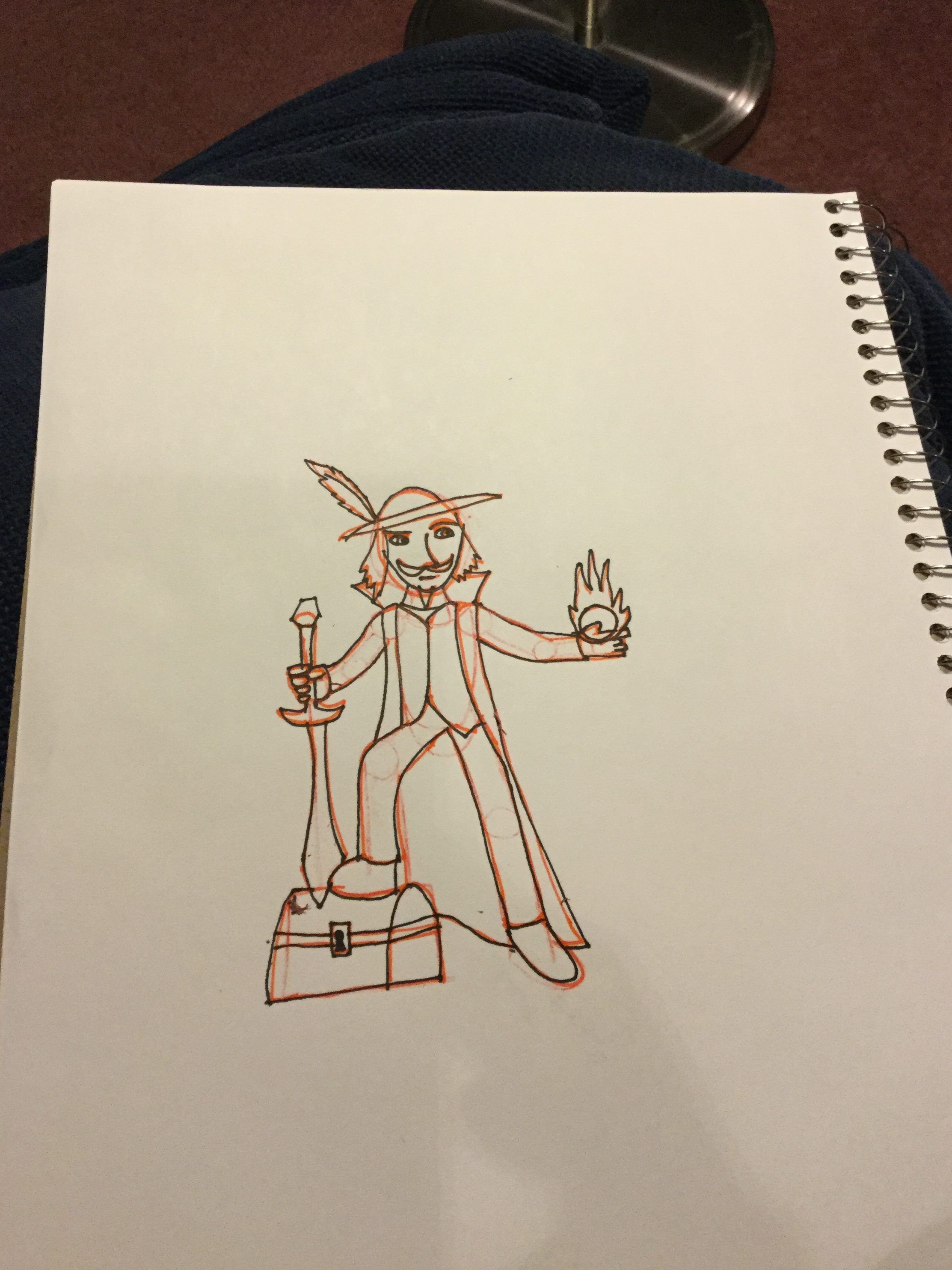 A rough sketch of a wizard-pirate, holding a sword and a ball of magic energy, with one foot on top of a treasure chest.