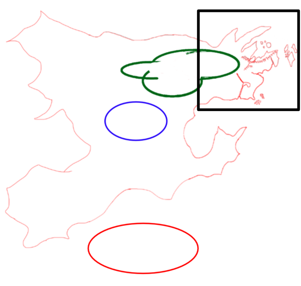 A preliminary map of the continent of Realmgard.