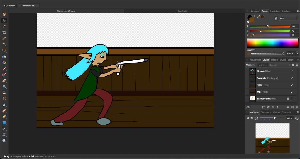 A female Elf with a gun.