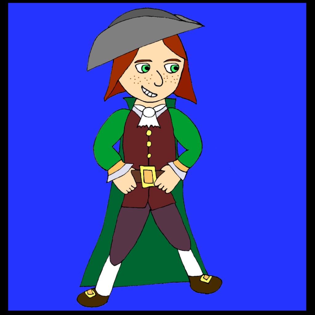 Ten-year-old pirate Dunstana Darkstone, wearing a spiffy green pirate outfit.