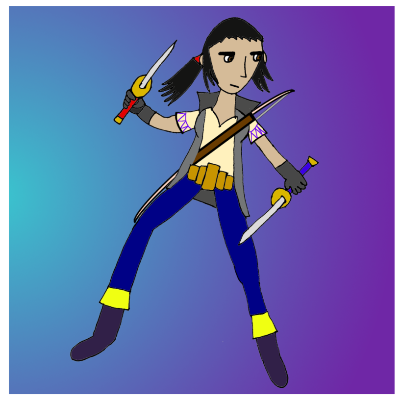 Kat Darkstone, striking a cool pose and holding two daggers.