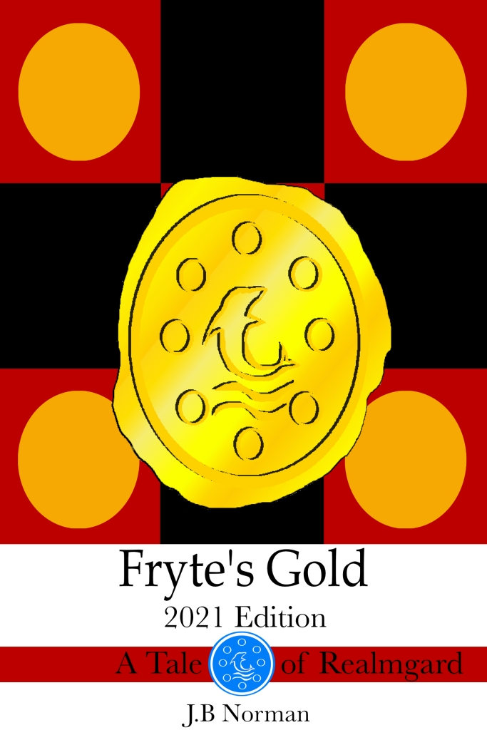 "The cover art of ""Fryte's Gold"", a gold coin on a black and red checkered background with orange circles on the red squares."