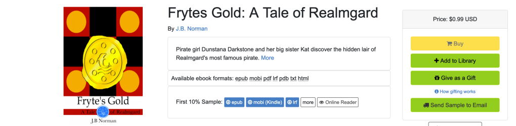 The online page at Smashwords for the ebook of Fryte's Gold.