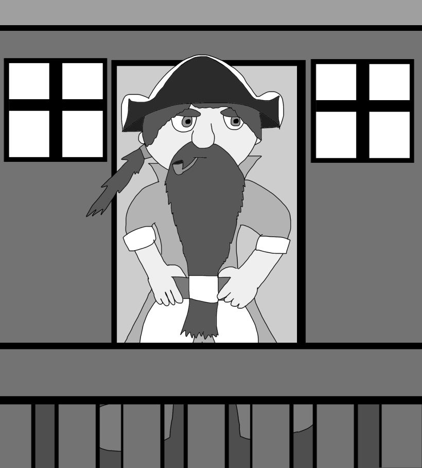 An illustration of the Dwarf pirate Greybeard standing outside his cabin on his ship.