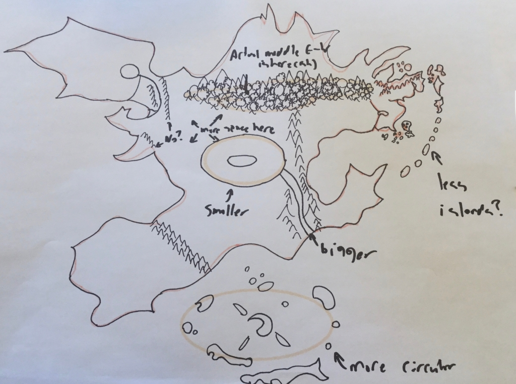 A preliminary map of Realmgard, with hastily-added editorial notes.