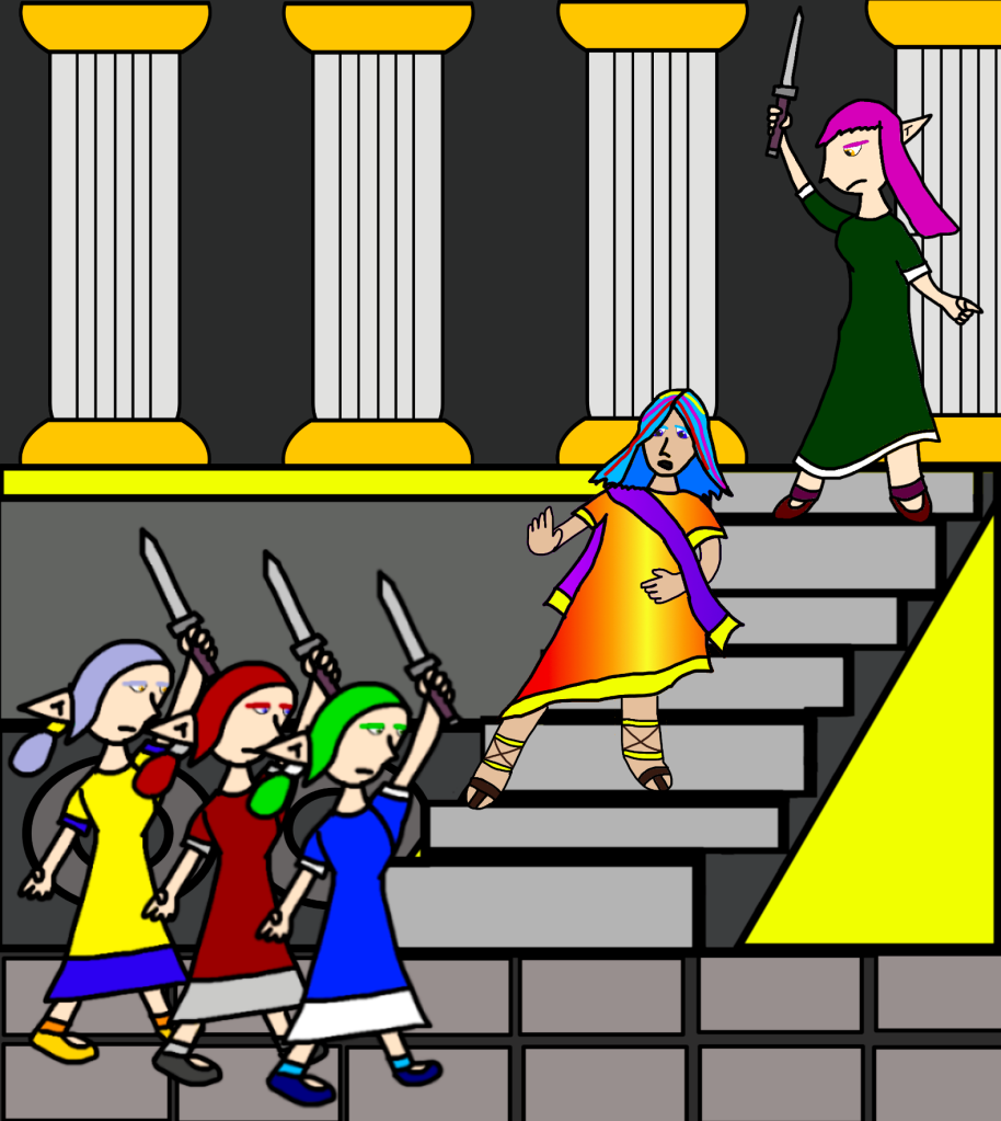 A scene from Realmgard's history: the assassination with Quintus Fabulus Maximus by his angry ex-girlfriends on the Senate House steps.