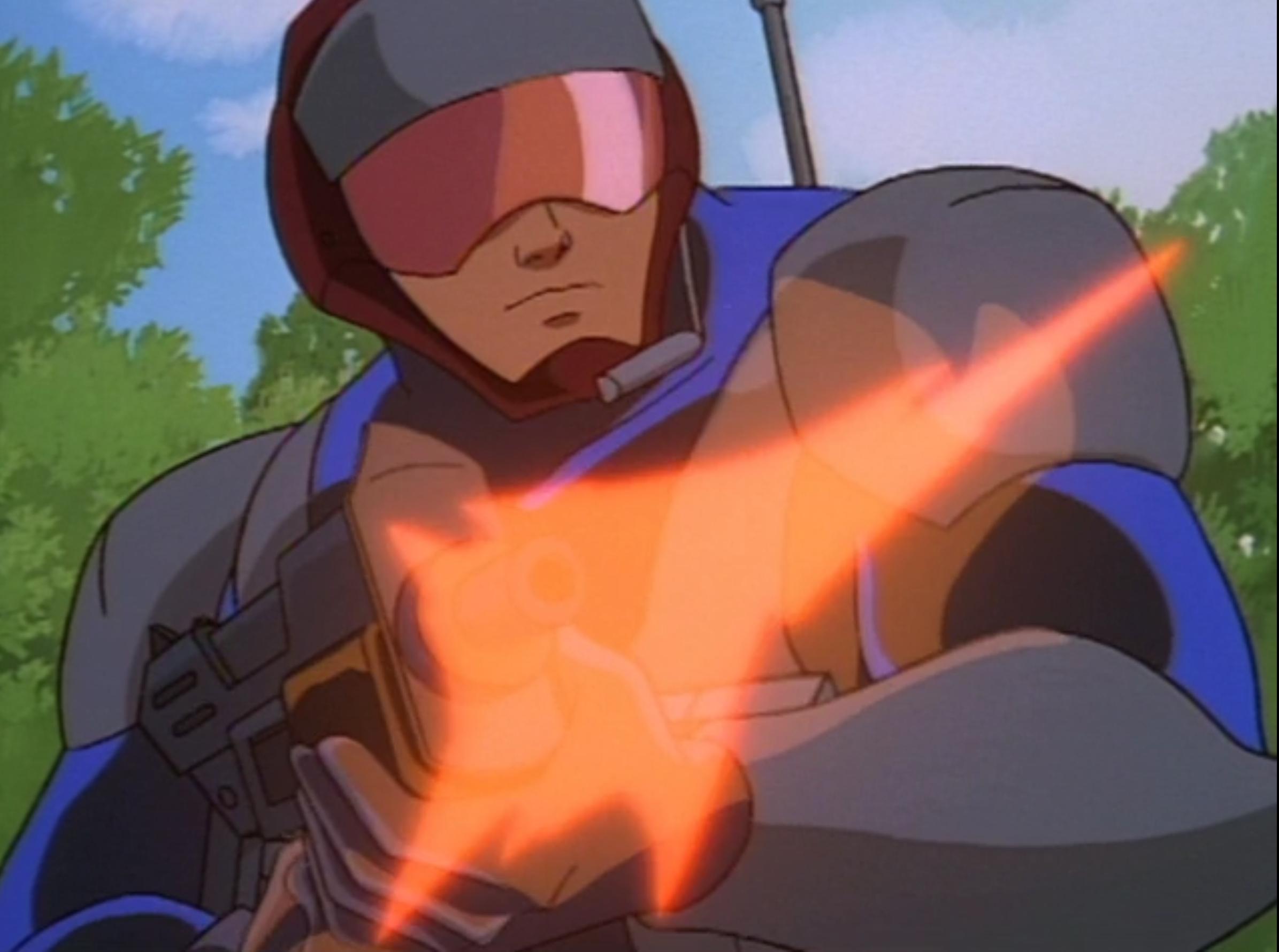 """A generic villain from """"Gargoyles"""" firing a gun."""