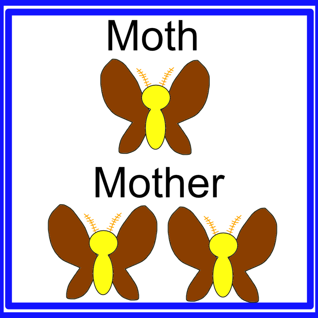 """A visual pun. One moth, labelled """"Moth"""", and two moths, labelled """"Mother""""."""