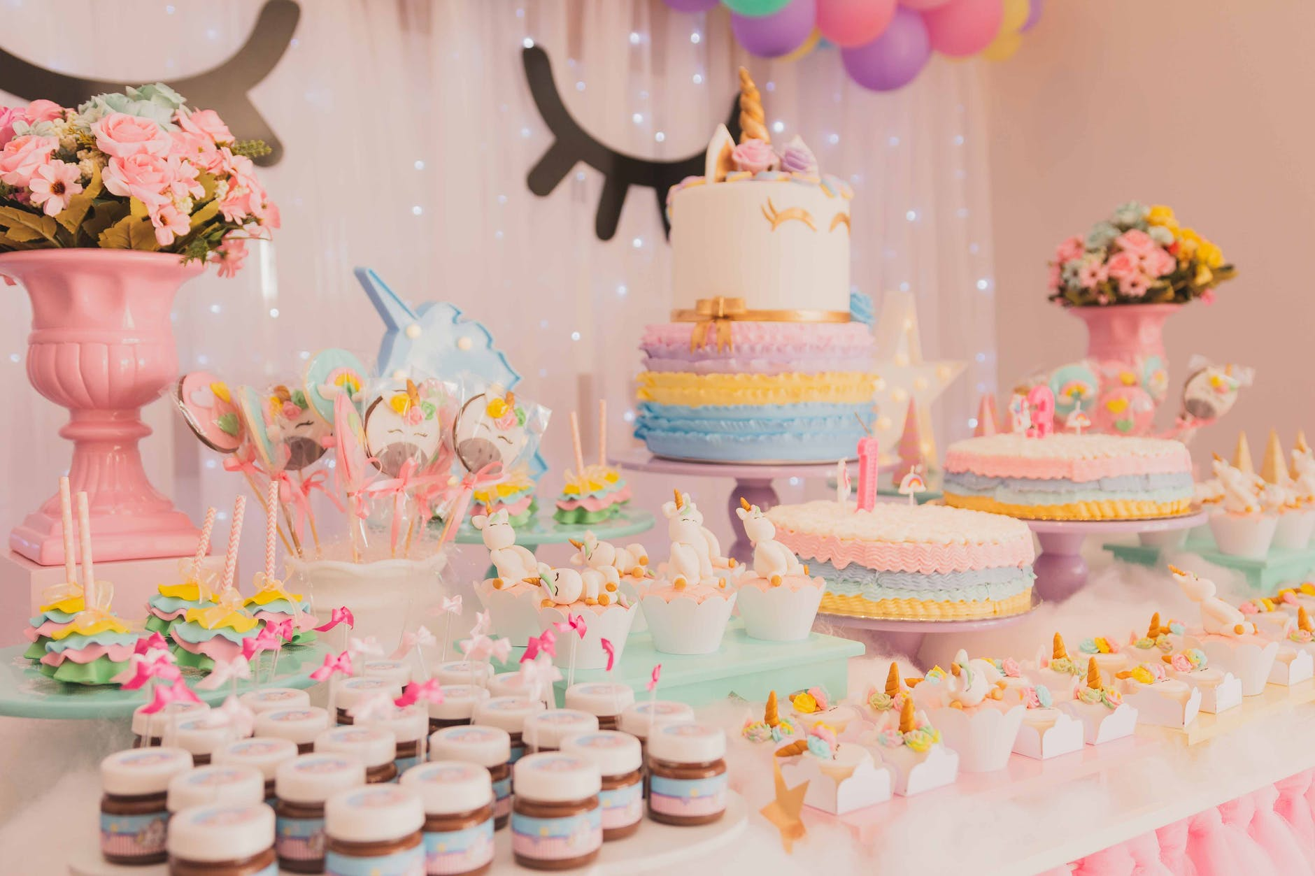 An assortment of birthday cakes.