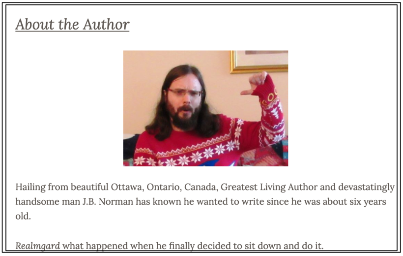 J.B. Norman's 'About the Author' page.