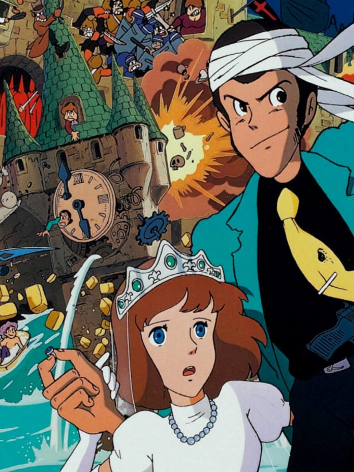 """A section of the poster for """"The Castle of Cagliostro"""", centred on Lupin III and Lady Clarisse."""