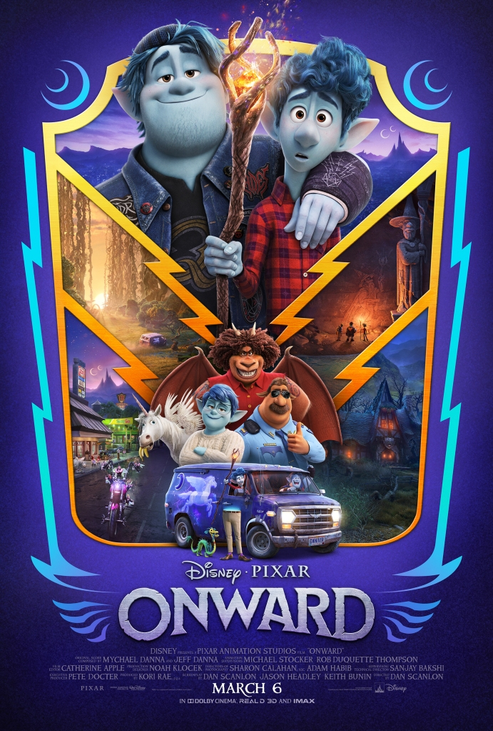 """The theatrical poster of Pixar and Disney's movie """"Onward""""."""