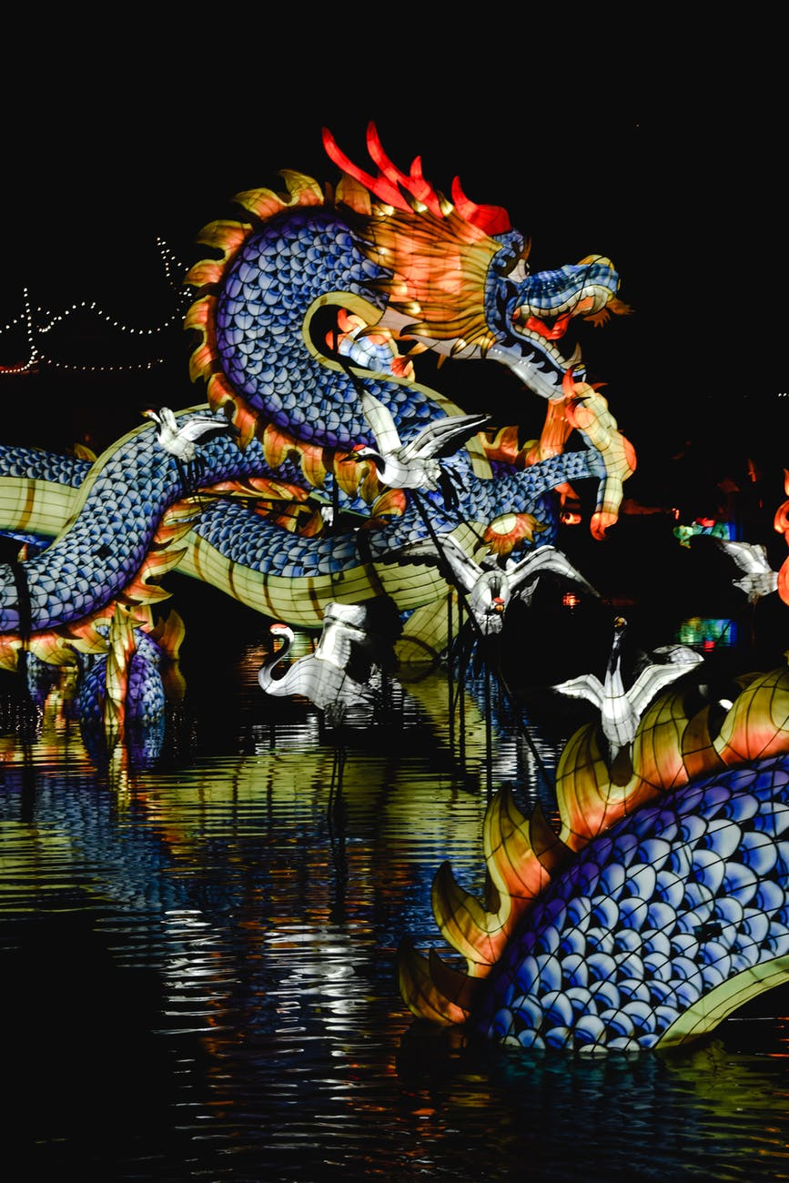 An illuminated statue of a Chinese dragon and several waterbirds build over water.