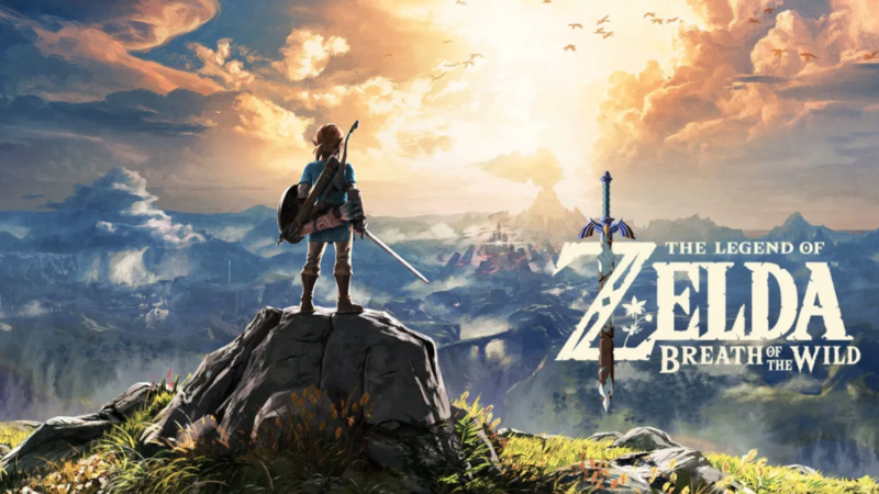 The header image for Breath of the Wild, Link standing on a rocky ledge overlooking Hyrule.