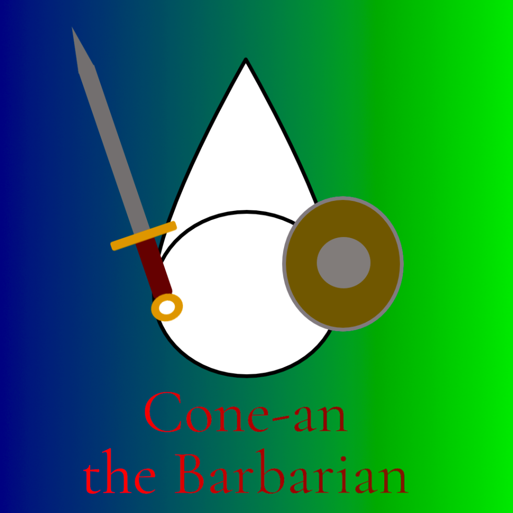 """A poor-quality drawing of a cone holding a sword and shield, labelled """"Cone-an the Barbarian""""."""