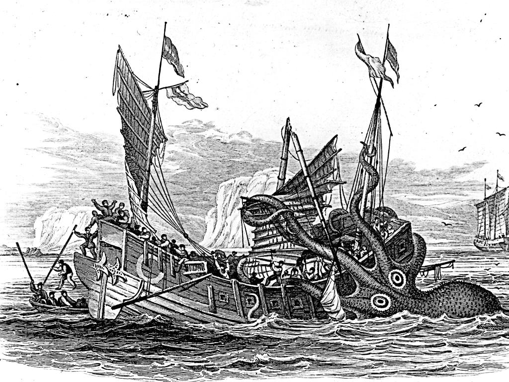 An old woodcut of a kraken attacking a ship.
