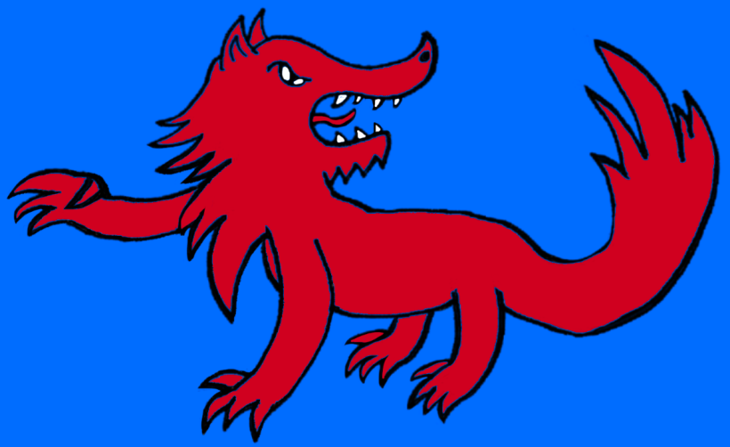 A heraldic image: a red wolf on a blue background.