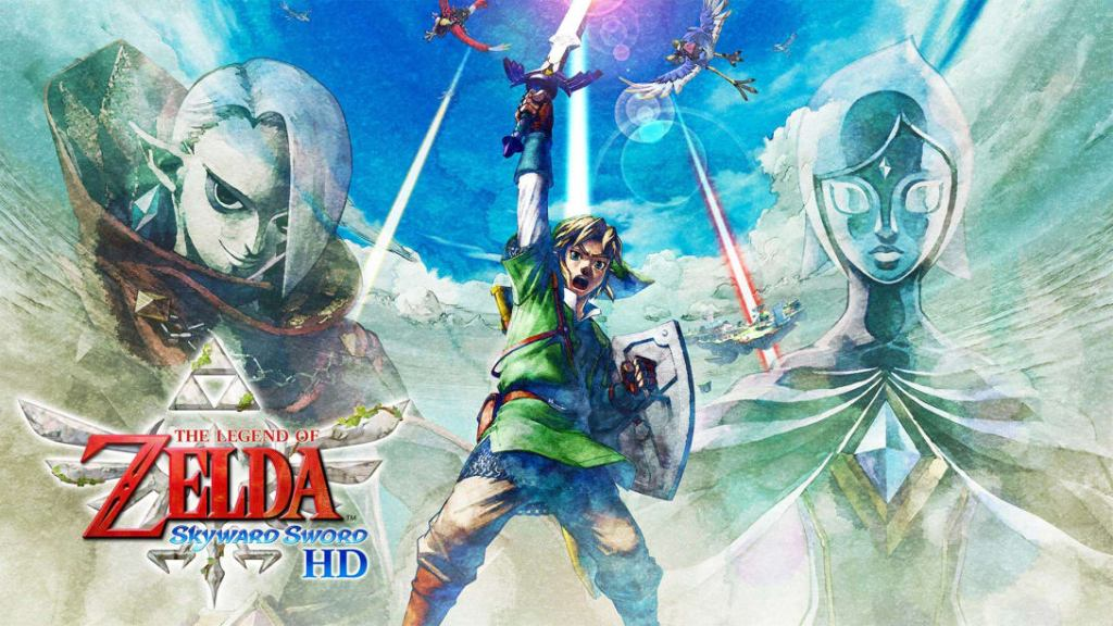 A header image for Skyward Sword. Villain Ghirahim on the left, Link in the middle, and sidekick Fi on the right.