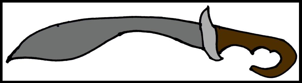 A sketch of a falcata, a sword with a forward-facing curve.
