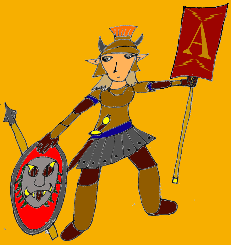 The Amazon warrior Fulminata, dressed like a Roman triarius, holding a banner with lightning bolts and a capital A.