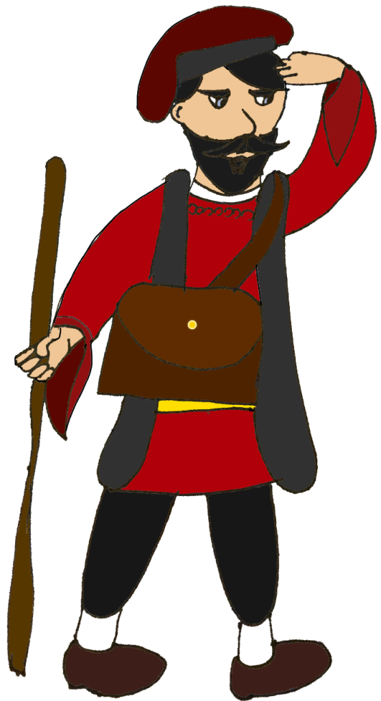 Realmgardian traveller Luca Pertico, resembling a real-world medieval Italian.