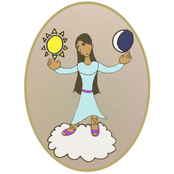 The image of the sky goddess Malketa, a dark-skinned, long-haired woman standing on a cloud holding the sun and moon.