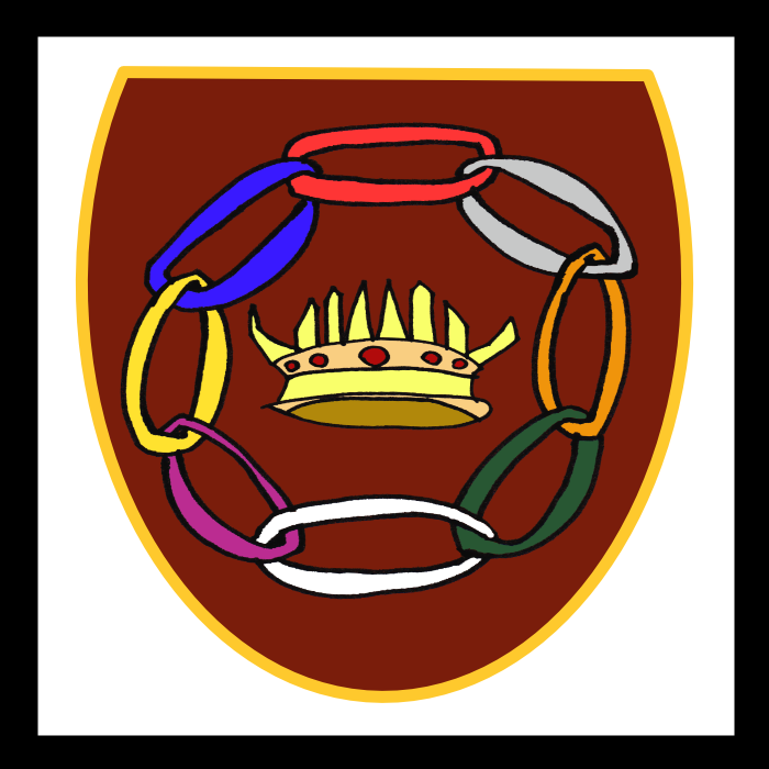A heraldic crest: a red shield with eight chain links in a circle around a crown with eight points.