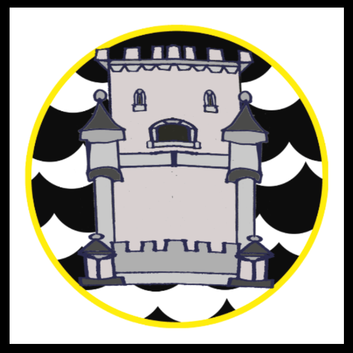 A heraldic crest: a black-and-white scalloped background in a yellow circle with the image of a stone tower.