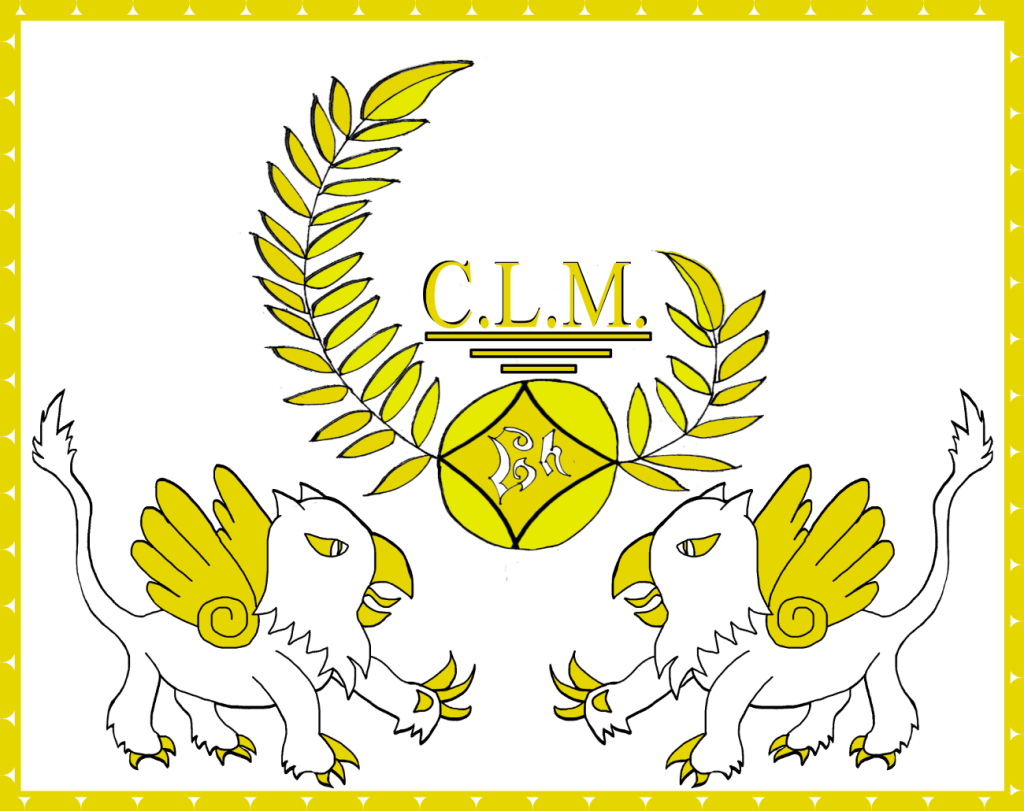 """The flag of Goldharbour. Two white and yellow gryphons facing each other beneath a laurel wreath with the letters """"GH"""" and the letters """"C.L.M"""" above the laurels."""