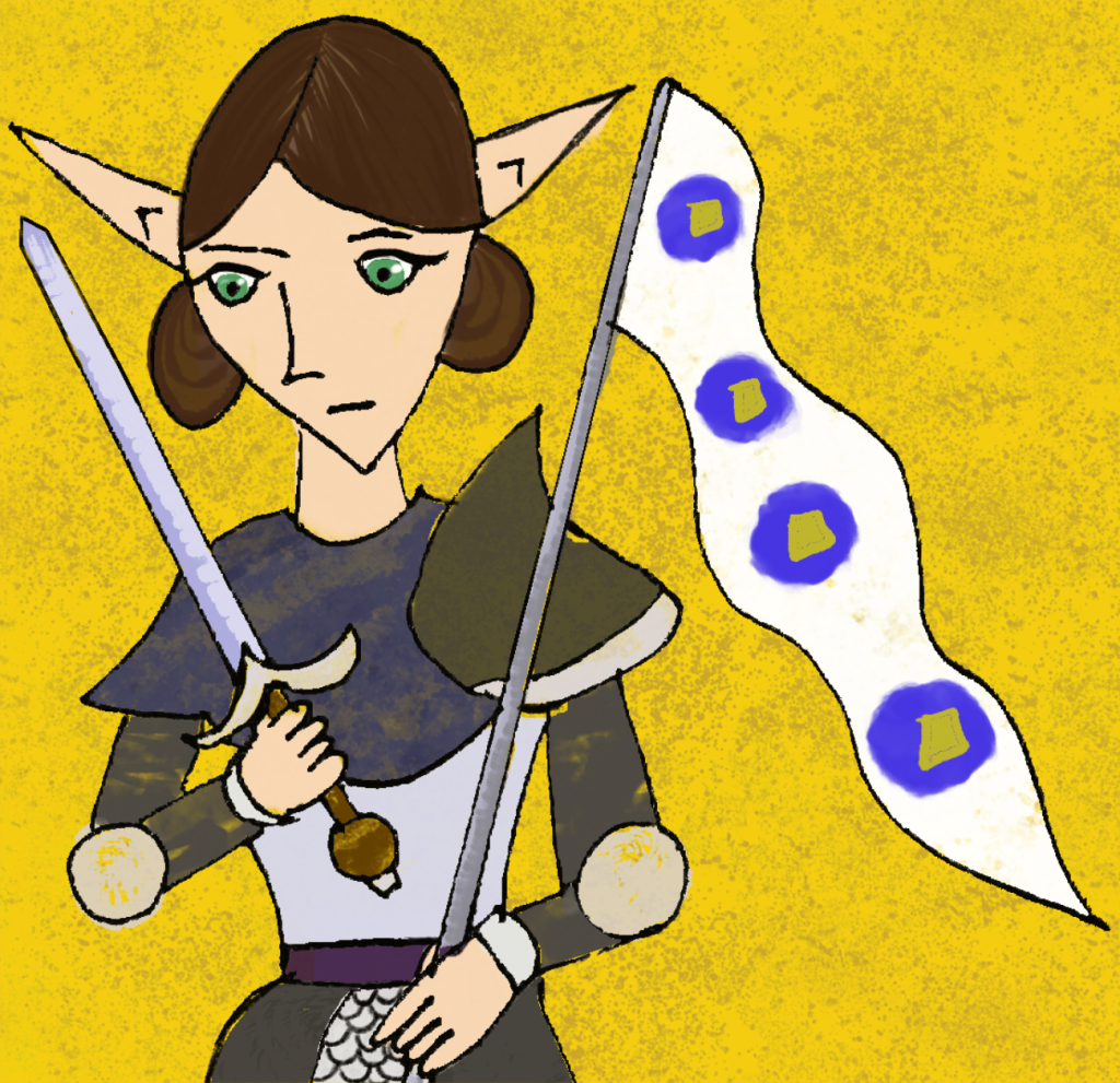 Duchess Forte of Colline, an Elf woman dressed in armour and holding a sword and a banner with blue circles with gold centres.